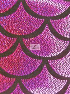 Magenta Scale Foil Nylon Spandex Fabric