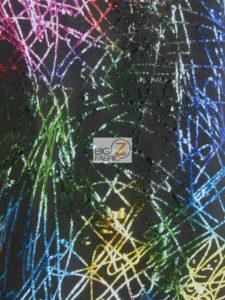 Illustrious Scribbles Holographic Spandex Fabric Rainbow