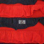 2 Tone Ruffle Nylon Spandex Fabric Black Red