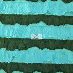 2 Tone Ruffle Nylon Spandex Fabric Black Turquoise