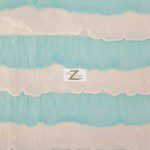 2 Tone Ruffle Nylon Spandex Fabric White Blue