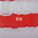 2 Tone Ruffle Nylon Spandex Fabric White Red