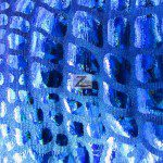 Croc Reptile Hologram Poly Spandex Fabric Royal Blue