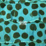 Dalmatian Ruffle Poly Spandex Fabric Turquoise Black