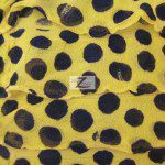 Dalmatian Ruffle Poly Spandex Fabric Yellow Black