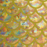 Hologram Scale Foil Nylon Spandex Fabric Gold