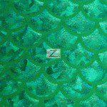 Hologram Scale Foil Nylon Spandex Fabric Kelly Green