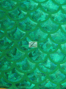 Hologram Scale Foil Nylon Spandex Fabric Kelly Green