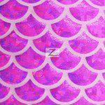 Hologram Scale Foil Nylon Spandex Fabric Magenta