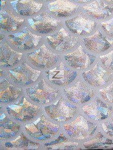 Hologram Scale Foil Nylon Spandex Fabric Silver