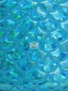 Hologram Scale Foil Nylon Spandex Fabric Turquoise