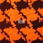 Hound Tooth Stretch Spandex Fabric Neon Orange