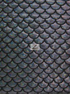 Hologram Scale Foil Nylon Spandex Fabric Black