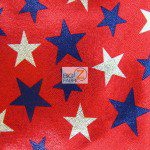 Mini American Star Delight Foil Spandex Decorative Fabric Red