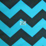 Zig Zag Chevron Poly Spandex Fabric Turquoise