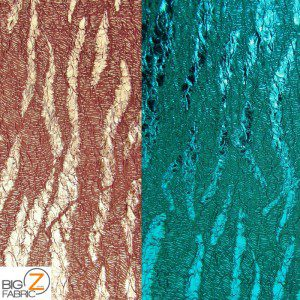 Double Knit Crinkle Metallic Stretch Puffy Fabric