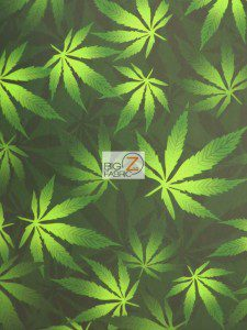 Green Cannabis Marijuana Spandex Fabric