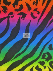 Rainbow Animal Jungle Poly Spandex Fabric