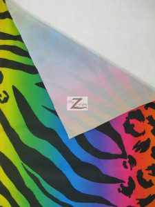 Rainbow Animal Jungle Poly Spandex Fabric Backing