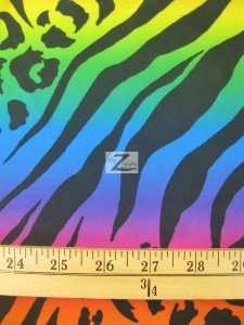 Rainbow Animal Jungle Poly Spandex Fabric Measurement