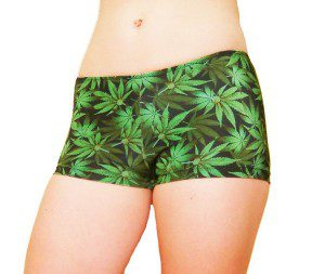 Marijuana Leaf Spandex Fabric Shorts