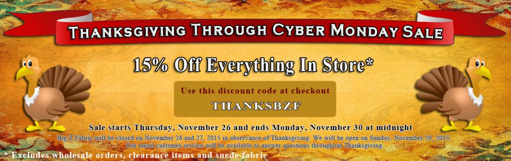 Big Z Fabric Thanksgiving Spandex Sale