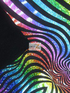 Rainbow Illusion Tiger Stripes Spandex Fabric Backing