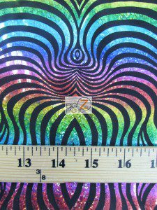 Rainbow Illusion Tiger Stripes Spandex Fabric Measurement
