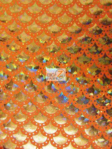 Scale Dot Foil Nylon Spandex Fabric Orange Gold