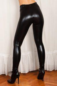 Wet Look Black Spandex Leggings