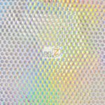 Holographic Dotted 70's Spandex Fabric Holo White