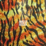 Holographic Foil Camo Spandex Fabric Flaming Tiger