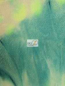 Tie Dye Crepe Spandex Fabric Multi Green Blue