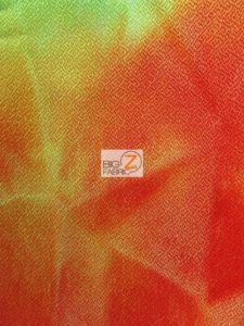 Tie Dye Crepe Spandex Fabric Multi Red Yellow