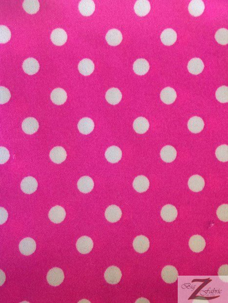 Small Polka Dot Spandex Fabric Hot Pink