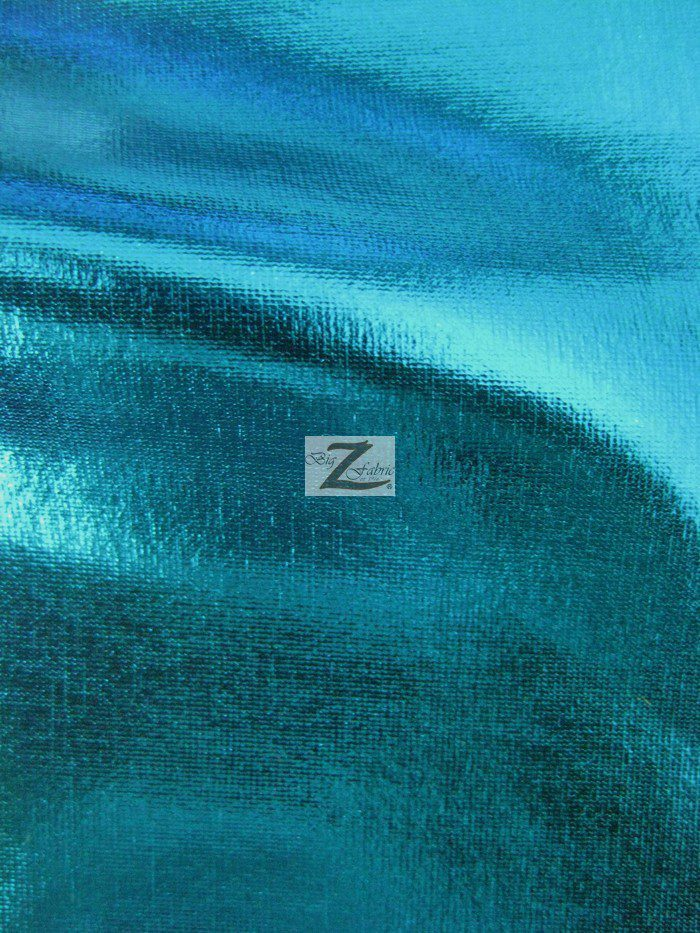 Turquoise Metallic Foil Spandex Fabric