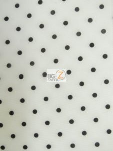 Polka Dot Techno Spandex Fabric White/Black